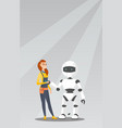 young caucasian woman handshaking with robot vector image vector image