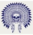 Ball pen sketch skull in headdress vector image