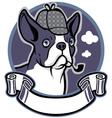 boston terrier dog wear a detective hat vector image