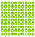 100 camping and nature icons set green circle vector image vector image