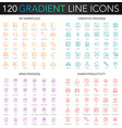 120 trendy gradient style thin line icons set vector image vector image