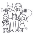 Active happy family in sport gym line icon