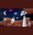 astronauts in space scene vector image vector image