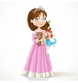 Beautiful little princess in tiara holding soft vector image vector image