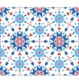 Blue Red Flowers and Hearts Pattern vector image vector image