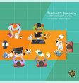 business analysis teamwork flat design teamwork vector image