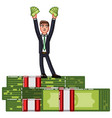 business man standing on pack of money vector image