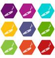 cigar icon set color hexahedron vector image vector image