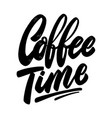 Coffee time lettering phrase on white background