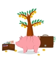 Concept money saving - pig tree vector image vector image
