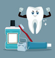 dental care cartoons and icons vector image vector image