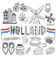 doodle hand drawn collection of holland icons vector image vector image