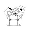 dotted shape backpack with camera and picture to vector image vector image