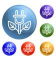 eco plant plug icons set vector image