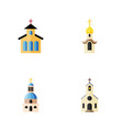 flat icon church set of structure building vector image vector image