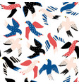 flying birds abstract papercut style seamless vector image