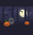 full moon halloween night dark spooky graveyard vector image