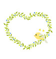 gentle green heart-shaped wreath with a yellow vector image vector image