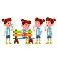 girl kindergarten kid poses set little vector image vector image