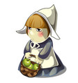girl with a basket filled with green apples vector image