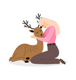 girl with deer animal cartoon pretty woman with vector image vector image