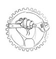 hand with wrench and gear vector image