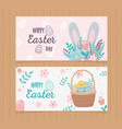 happy easter day greeting cards flowers ears vector image