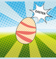 happy easter pop art with vector image