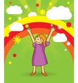 happy girl on bright background vector image