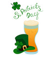 happy st patrick s day lettering with green vector image