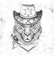 hipster animal guepard hand drawing muzzle vector image vector image