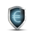 metal shield with the image of euro isolated on vector image vector image