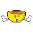 money eye soup union mascot cartoon vector image