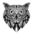 owl doddle art with bullets ornament for vector image