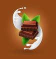 piece of chocolate in milk splash vector image vector image