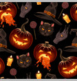 seamless pattern for halloween with pumpkin vector image