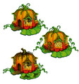 set fairy tale houses made out pumpkins vector image vector image