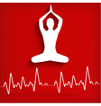 silhouette yoga poses on a red background with car vector image
