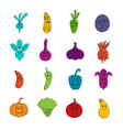 smiling vegetables icons doodle set vector image vector image