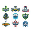 sport logos emblem of college team cup vector image