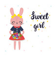 sweet girl cute little bunny with flowers vector image vector image