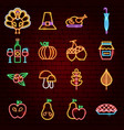 thanksgiving day neon icons vector image vector image