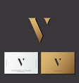 v letter optical gold monogram vector image