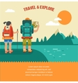 vintage background with backpackers forest vector image vector image
