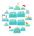 water sport cartoon icons vector image