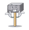 wink hammer cartoon for tenderizer the meat vector image vector image