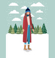 woman in snowscape with winter clothes vector image vector image