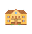wooden modern two-story house with huge facade vector image vector image