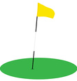 Yellow golf flag on green grass vector image vector image