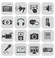 black media icons set on gray vector image